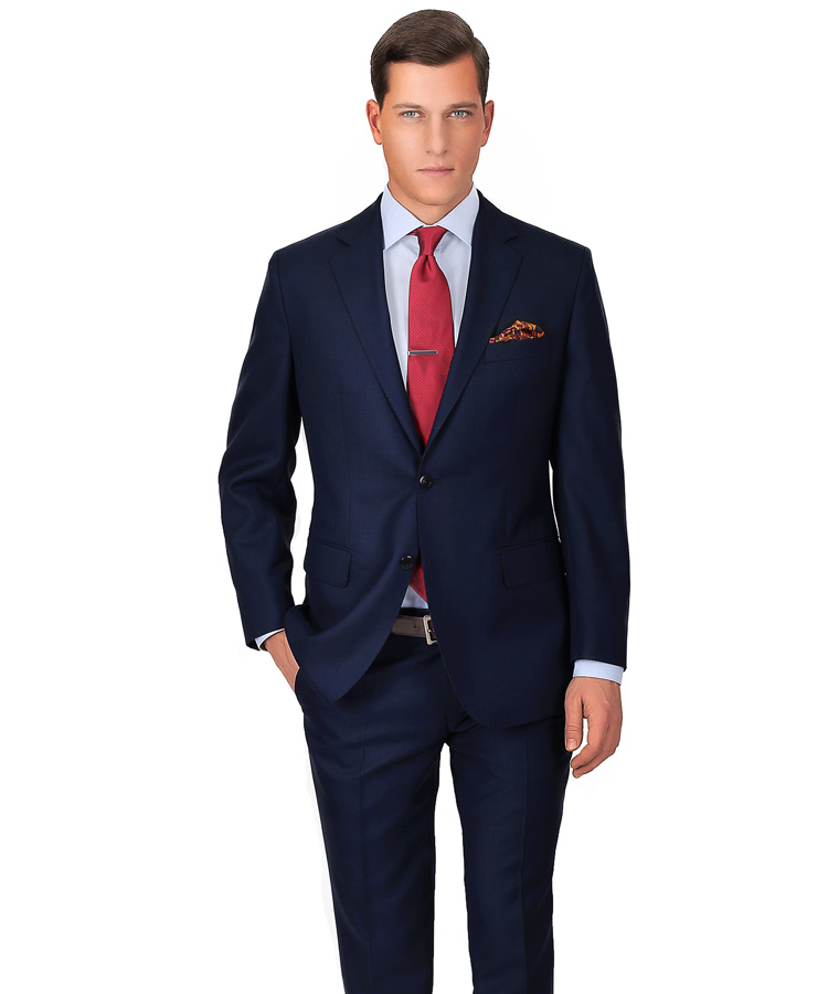 factory outlets fashion style cheap Blue Sharkskin Suit