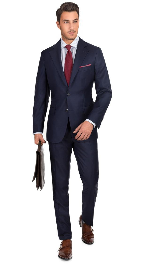 Navy Natural Stretch Wool Suit