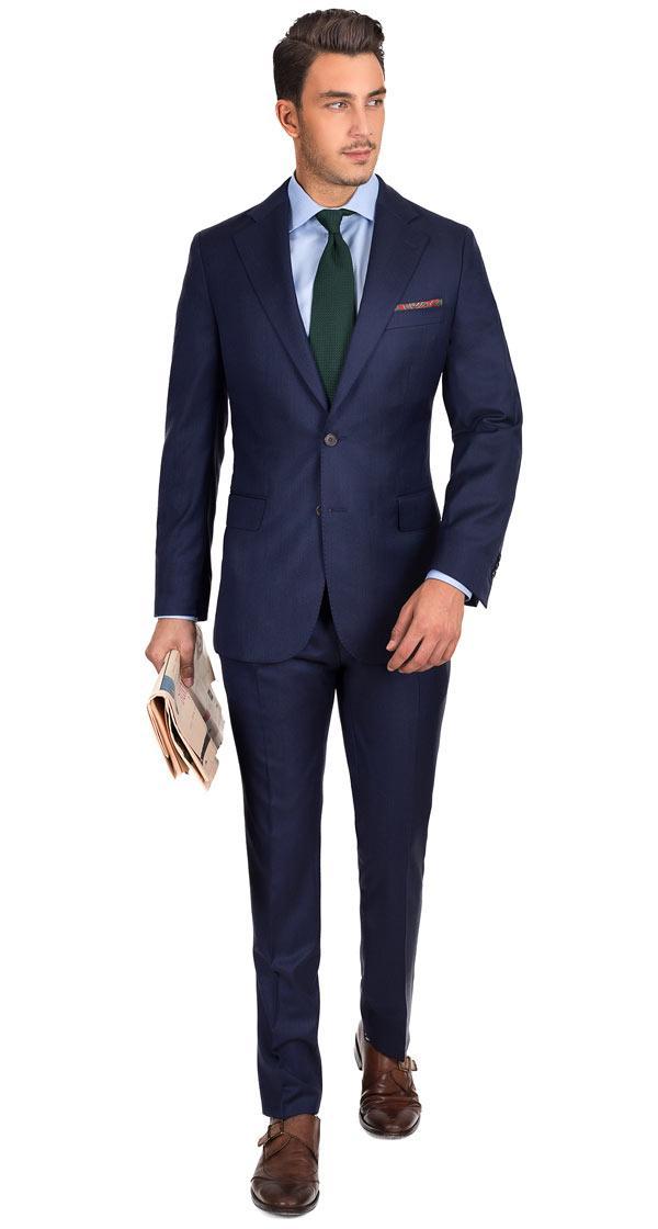 Indigo Blue Natural Stretch Wool Suit