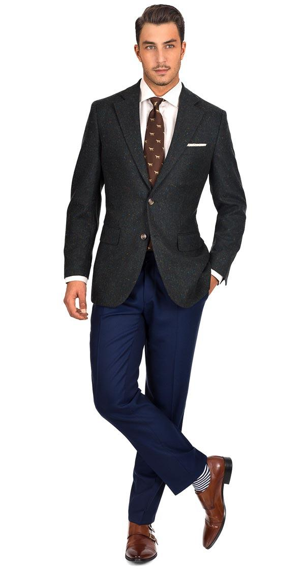 Olive Green Donegal Tweed Blazer