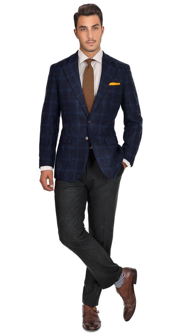 Blue Check Blue Shetland Tweed Blazer