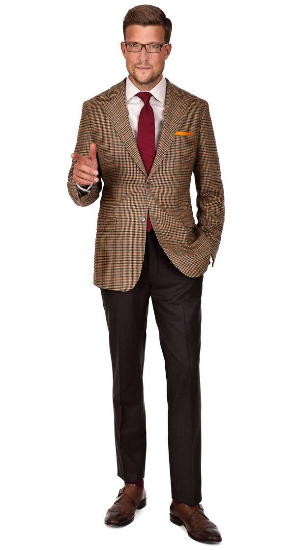 Light Brown Check Wool & Cashmere Blazer