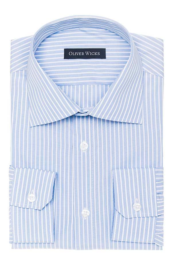 White Striped Blue Two-Ply Cotton Shirt