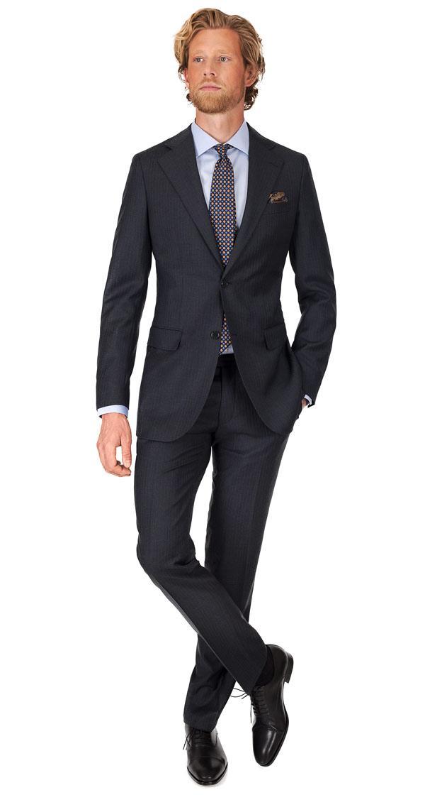 Blue Stripe Charcoal Suit