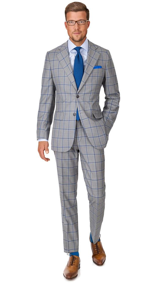 Vendetta Premium Blue Check Grey Suit