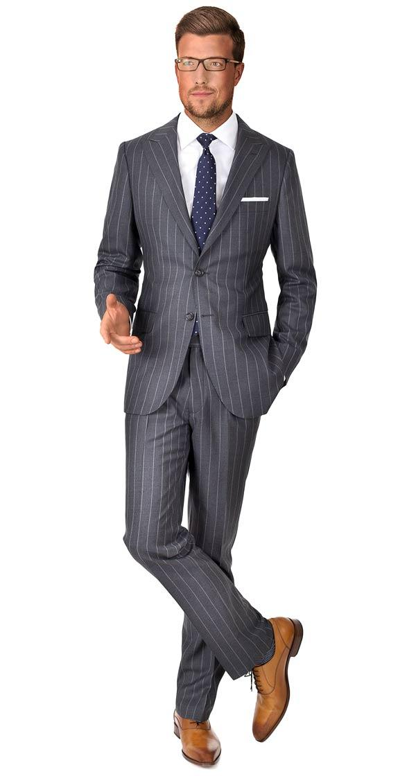 Vendetta Premium Grey Wide Chalkstripe Suit