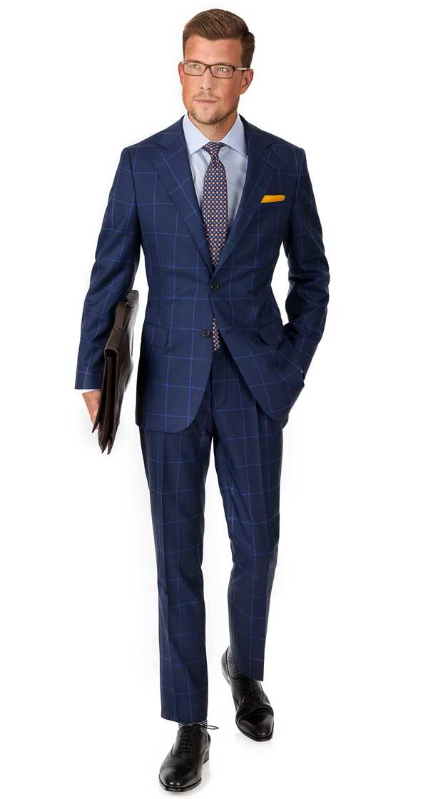 Vendetta Premium Blue Check Navy Plaid Suit