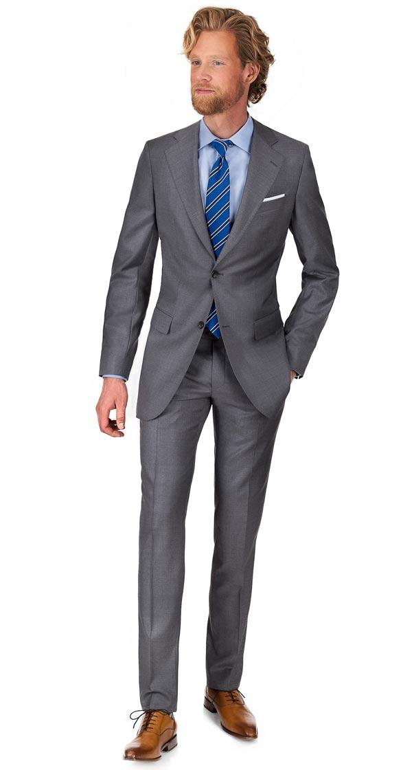 Light Grey Natural Stretch Wool Suit