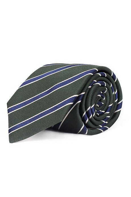 Blue Striped Green Mogador Silk Tie