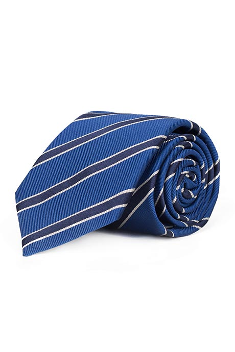 Navy Striped Blue Mogador Silk Tie