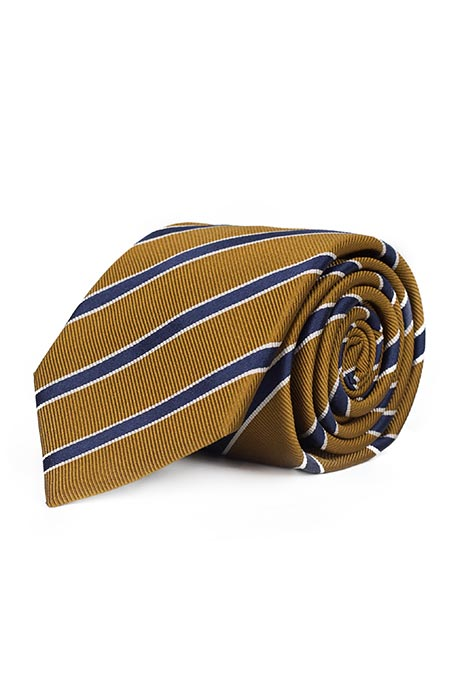 Navy Striped Mustard Mogador Silk Tie