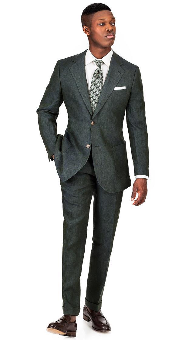 Olive Green Linen Suit