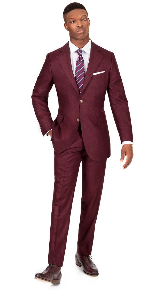 Burgundy Wool Flannel Suit