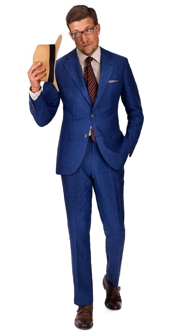 THE W. Suit in Intense Blue Linen
