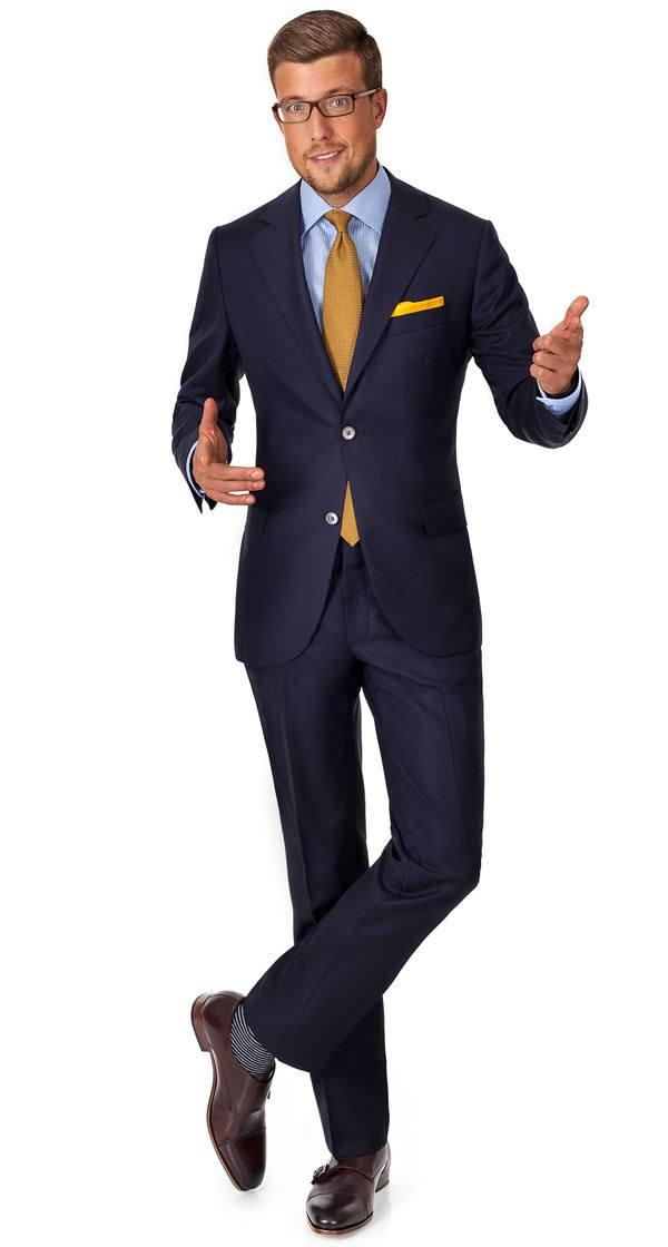 Hopsack Navy Suit