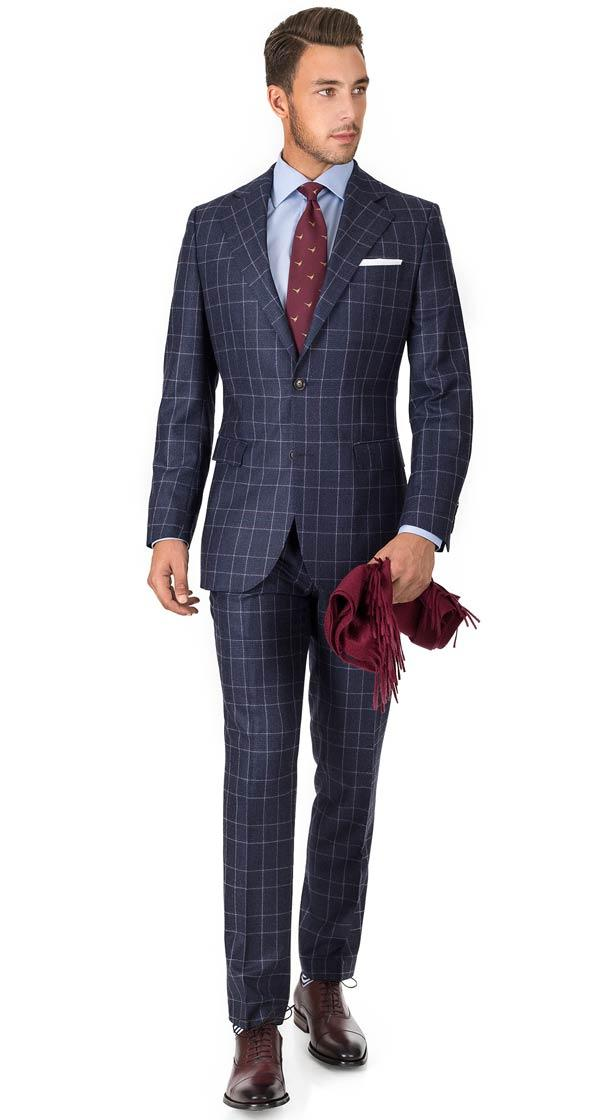Blue Plaid Wool Flannel Suit