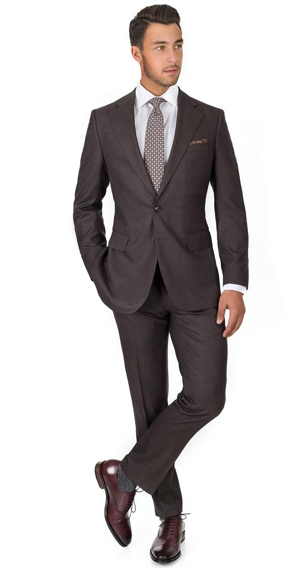 Vendetta Premium Charcoal Brown Birdseye Suit