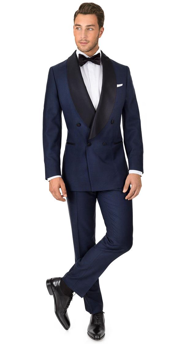 Blue Sharkskin Double Breasted Tuxedo