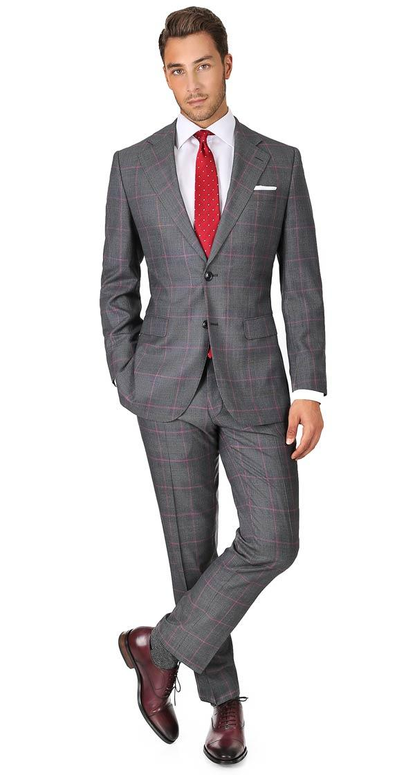 Vendetta Premium Grey & Coral Plaid Suit