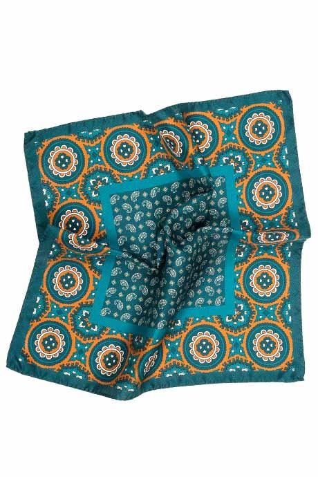Green & Bronze Italian 100% Silk Pocket Square