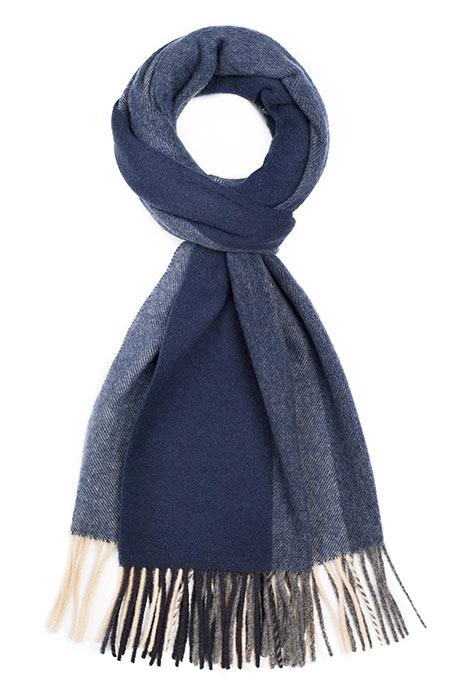 Navy & Blue Striped Wool Scarf