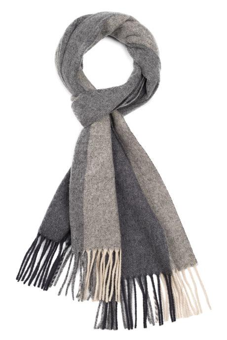 Charcoal & Grey Striped Wool Scarf