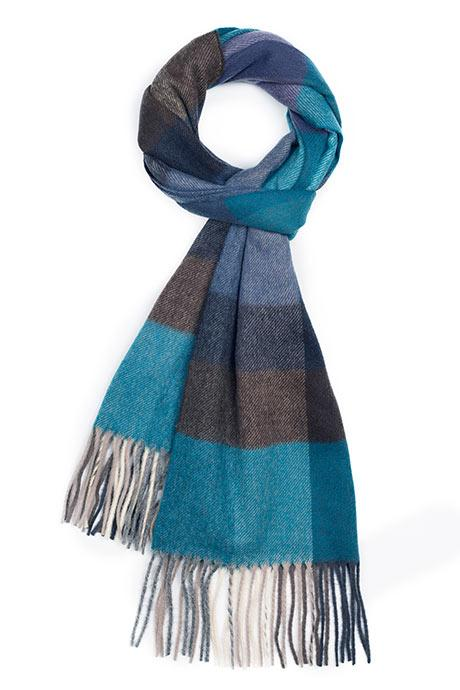 Blue & Green Check Wool Scarf