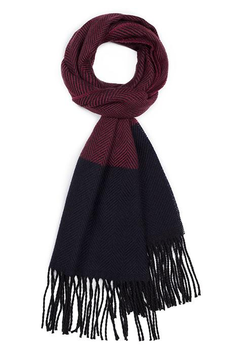 Burgundy & Navy Wool Scarf