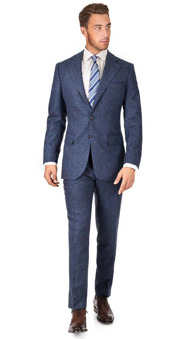THE W. Suit in Blue Donegal Shadow Tweed