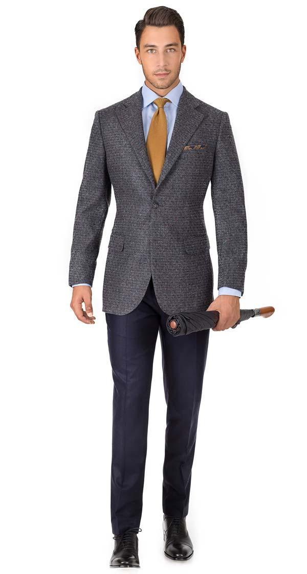 Dark Grey Donegal Shadow Tweed Blazer