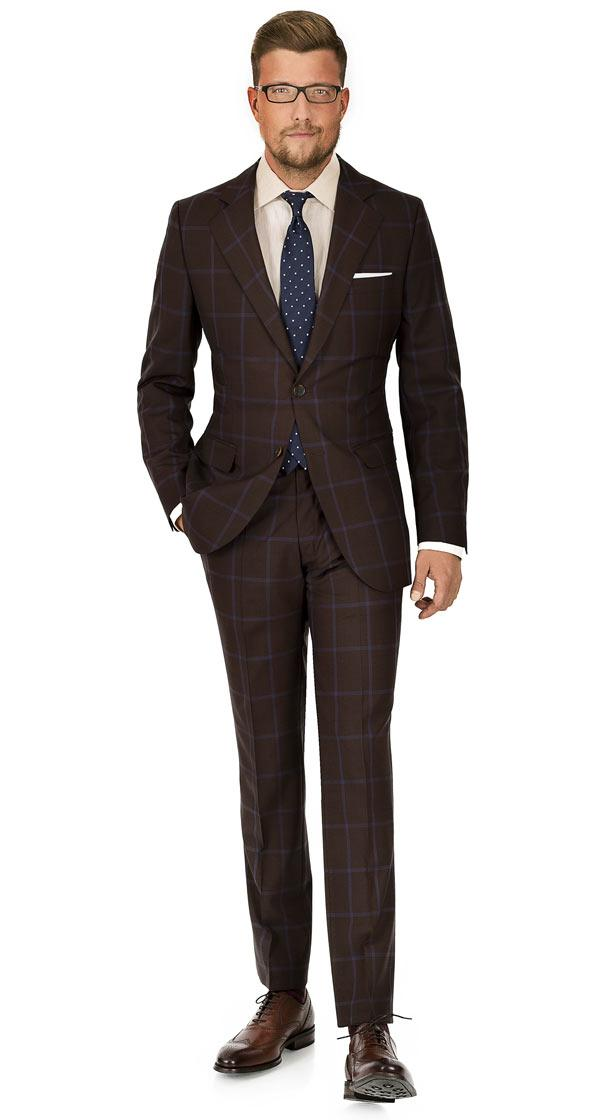 Blue Check Brown Suit