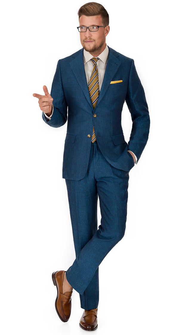Teal Blue Linen Suit