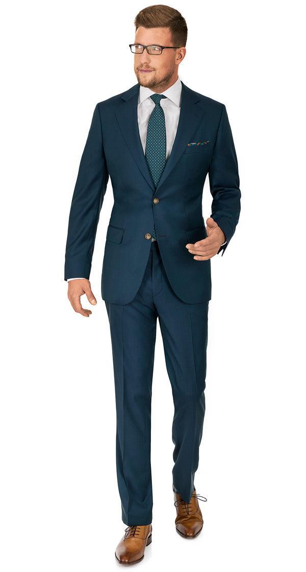 Teal Green Wool & Silk Suit