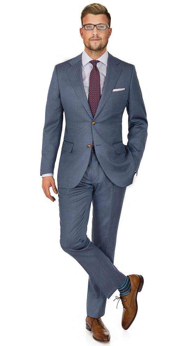 Sky Blue Wool & Silk Suit