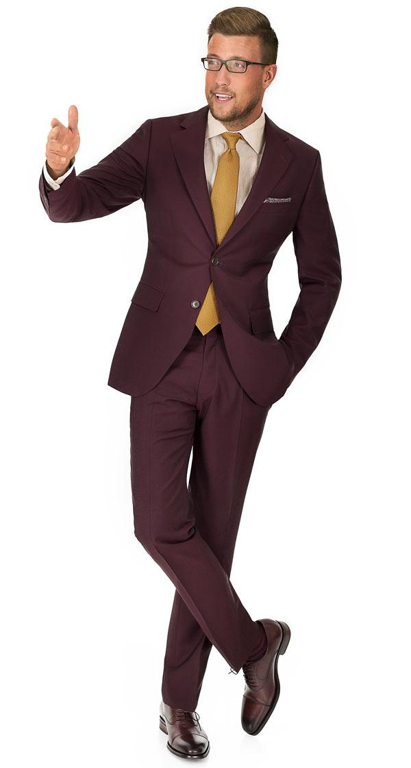 Burgundy Wool & Mohair Suit