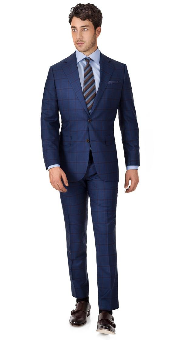 Vendetta Premium Red Check Navy Suit