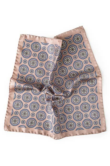 Light Brown & Blue Shapes Italian 100% Silk Pocket Square