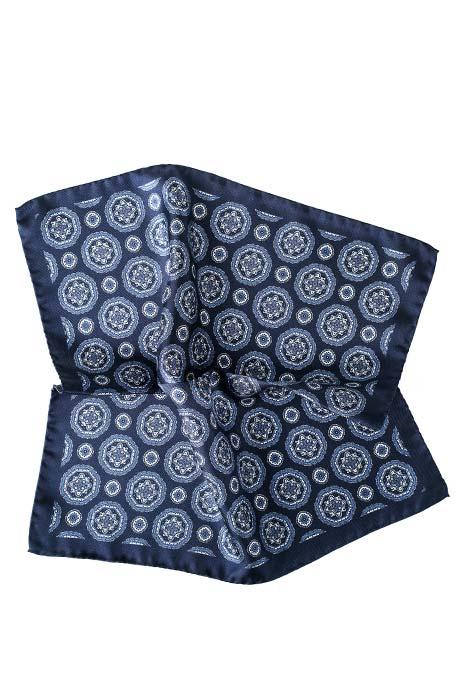 Navy & White Shapes Italian 100% Silk Pocket Square