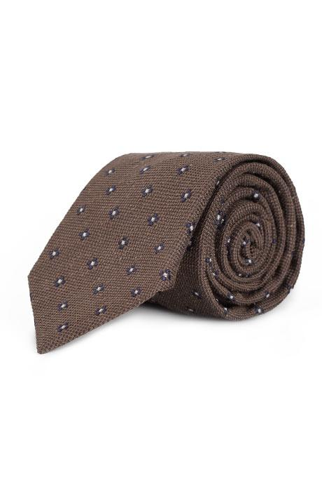 Brown Floral Bourette Silk Tie