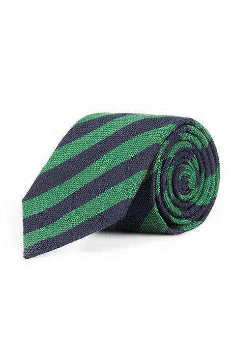 Navy & Green Bourette Silk Tie