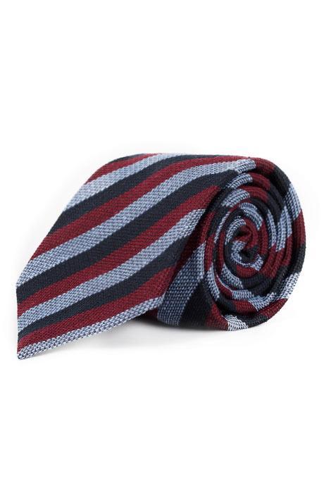 Navy, Red & Sky Blue Bourette Silk Tie