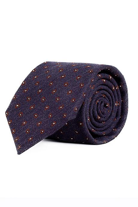 Blue & Brown Paisley Wool & Silk Tie