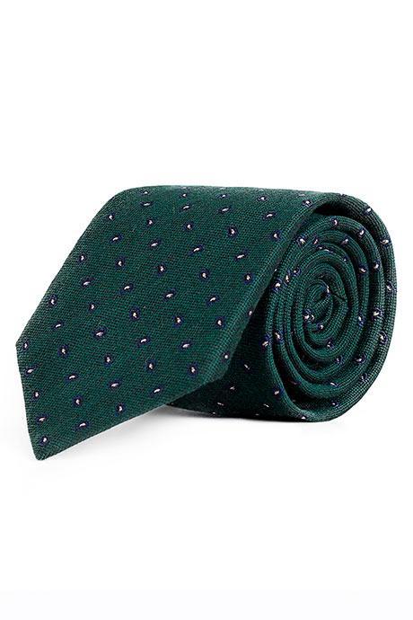Blue & Green Paisley Wool & Silk Tie