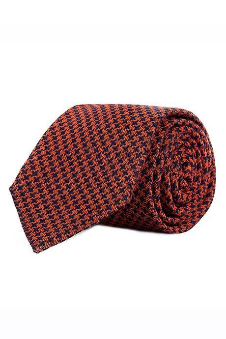 Copper & Blue Houndstooth Wool Tie