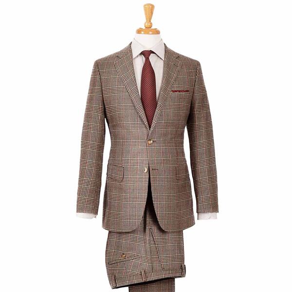 Light Brown Plaid Wool & Cashmere Suit