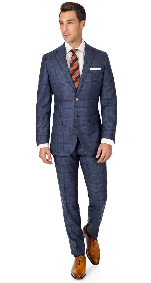 Steel Blue Plaid Wool & Cashmere Suit