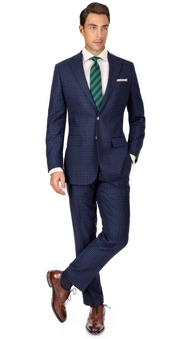 Blue Guncheck Wool & Cashmere Suit