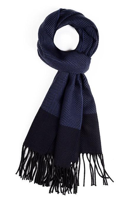 Navy & Blue Wool Scarf