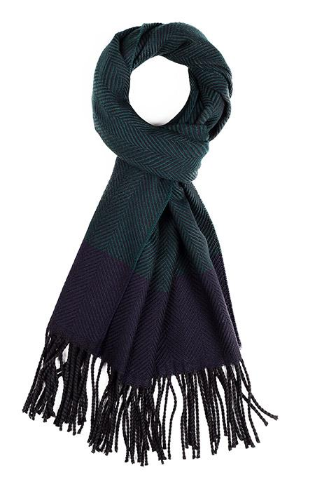 Green & Navy Wool Scarf