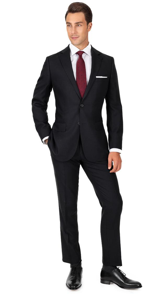Black Hopsack Natural Stretch Suit